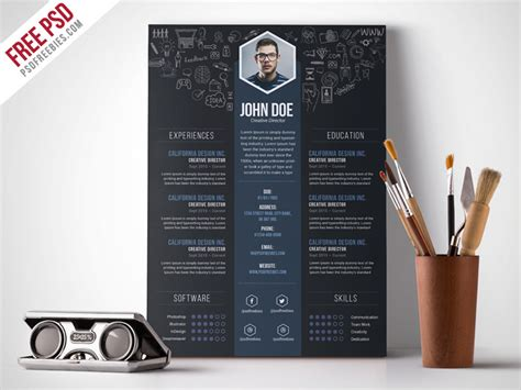 Creative Graphic Designer Resume Psd by Free Creative Designer Resume Template Psd Psdfreebies