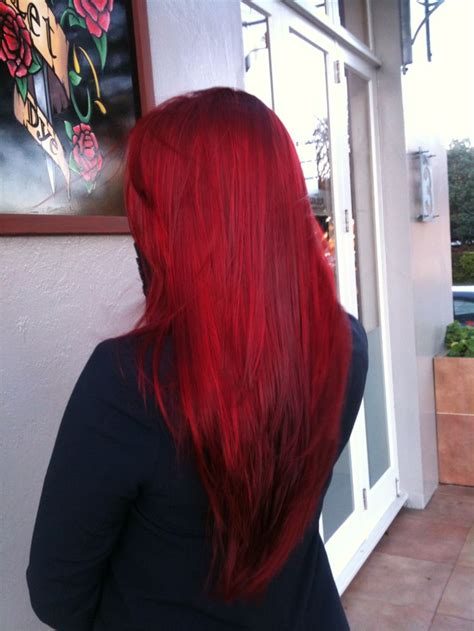 Bright Red Long Hair By Michele At Live And Let Dye Mr Eden