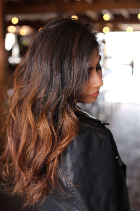 ombre bayalage black  carmel indian hair black