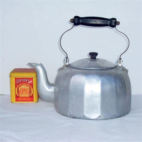 retro tea kettle mirro aluminum tea kettle vintage tea pot primitive 1949
