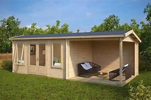 Gartenhaus Mit überdachter Terrasse : holz gartenhaus mit terrasse eva d 12m 44mm 3x7 hansagarten24 ~ Frokenaadalensverden.com Haus und Dekorationen