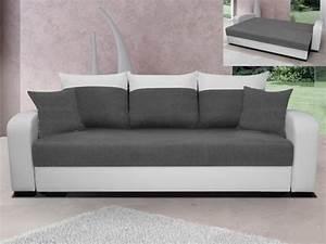 canape 3 places convertible bimatiere bicolore barden With tapis de marche avec cuir ou simili cuir canapé