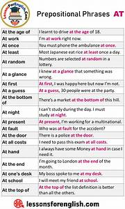 Prepositional Phrases At  Example Sentences