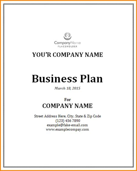 Cover Letter For Business Plan by How To Write A Formal Business Plan Cover Page Billsimas