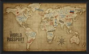 the world passport map print contemporary prints and With kitchen cabinets lowes with antique world map wall art