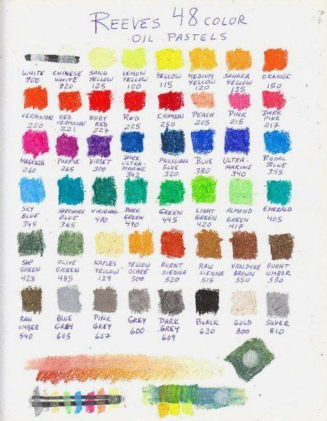 color chart of 48 reeves oil pastels 101 oil pastel