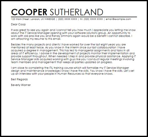 service manager cover letter sample cover letter templates examples