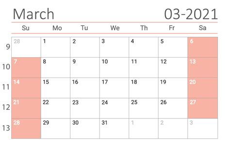 March 2021 Printable Calendar the US — Easy free Print