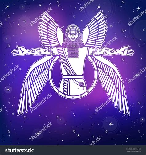 Ancient Assyrian Winged Deity Character Sumerian Stock ...