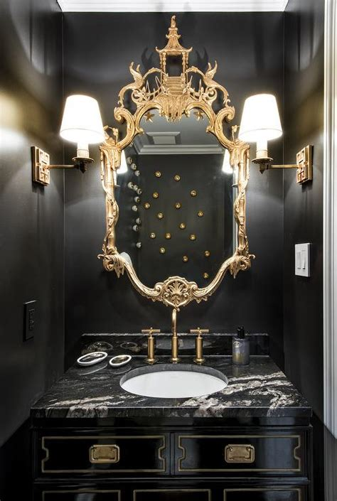 chinoiserie powder room asian bathroom hickman