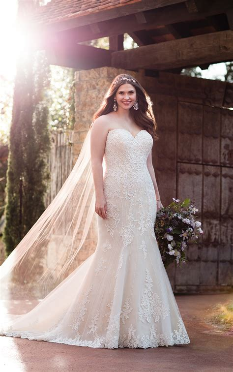 size beaded curve hugging trumpet wedding dress