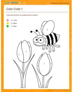 color code  math worksheets  kindergarten math blaster