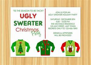 ugly sweater christmas party invitations cimvitation With ugly sweater christmas party invitations template