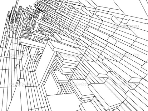 3d Sketch Monochrome Architecture Coloring Pages