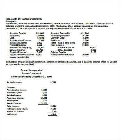 simple income statement    word documents