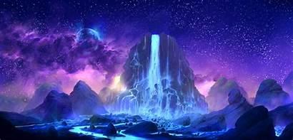 Space Sky Fantasy Colorful Waterfall Planet Desktop