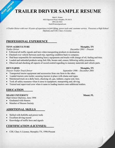 Truck Drivers Resume by Trailer Driver Resume Sle Resumecompanion