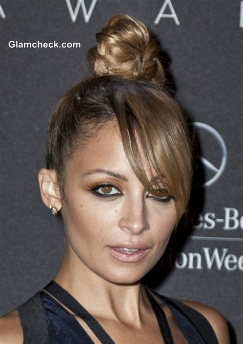 nicole richie sports top knot  side swept bangs