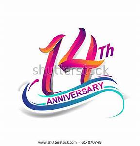 14th Anniversary Celebration Logotype Blue Red Stock ...  14th