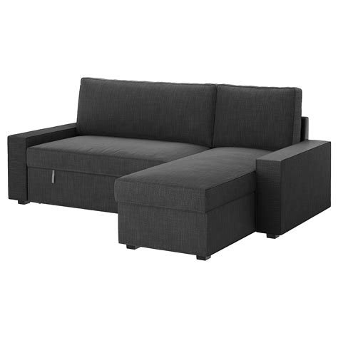 sofa bed with chaise lounge vilasund sofa bed with chaise longue hillared anthracite