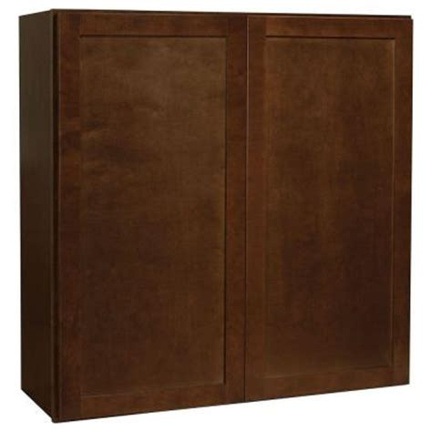 home depot cognac cabinets hton bay assembled 36x36x12 in shaker wall cabinet in
