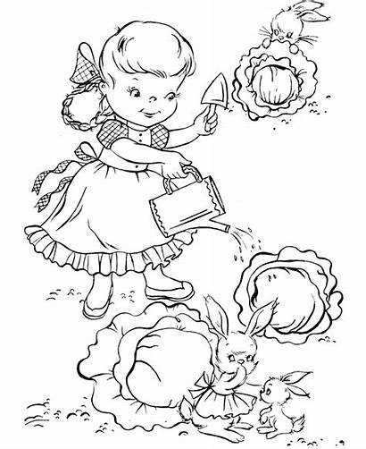 Coloring Pages Garden Gardening Watering