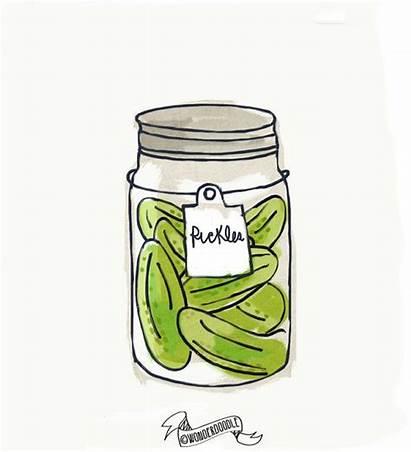 Pickle Jar Mason Hand Drawn Pickles Drawing