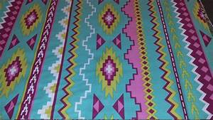 Green Pink Tribal print fabric/ Native print by