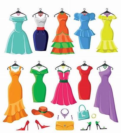 Summer Dresses Clipart Clip Accessories Vector Colored