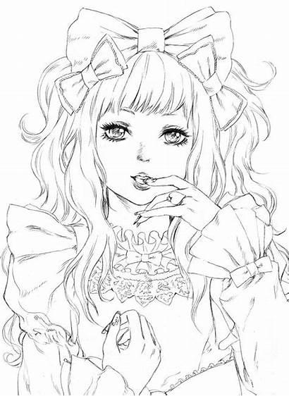 Manga Coloriage Kawaii Coloring Dessin Anime Femme