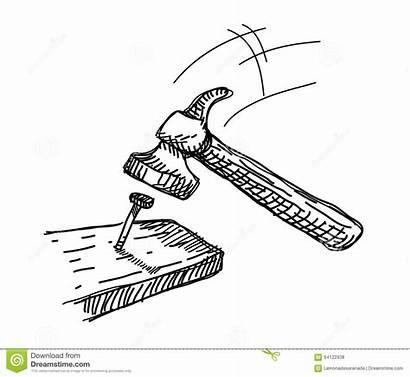 Hammer Nail Doodle Nagel Hit Marteau Drawn