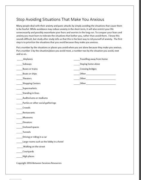 sessions anxiety worksheets  adults