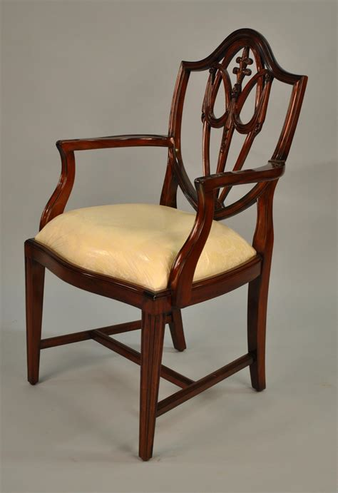 mahogany shield back dining chairs fleur de lis shield