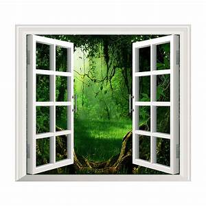 Deep forest pag 3d artificial window view 3d wall decals for Window wall decal