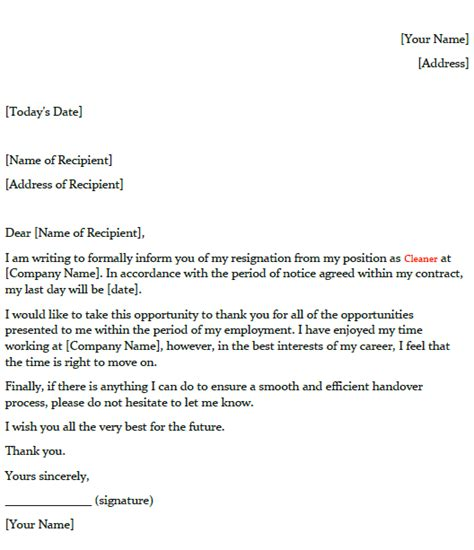 resignation letter   cleaner toresigncom