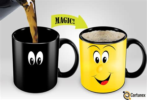 Color changing coffee mugs dark color when cool, add a warm drink and watch a colorful image imprinted on it magically appear!. Cortunex | Yellow Wake up Magic Mug | Amazing New Heat Sensitive Color Changing Coffee Mug ...