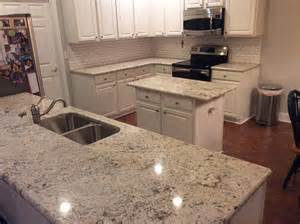 subway tiles kitchen backsplash white granite countertops installation