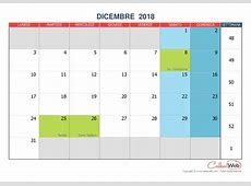 Calendario mensile Mese di dicembre 2018 con le