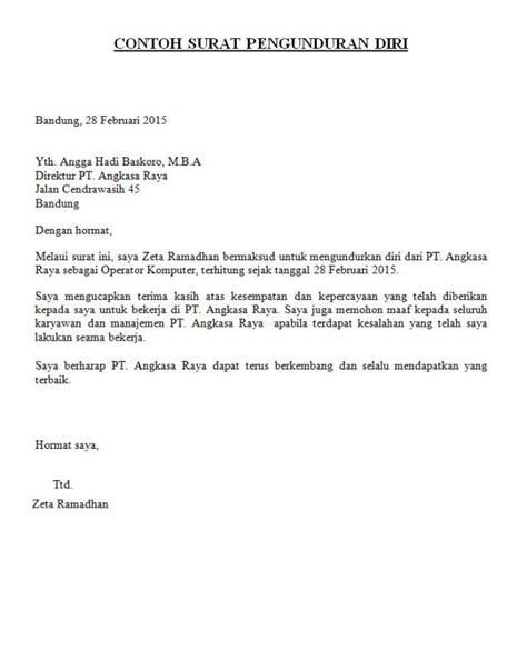 Surat Izin Sekolah Simpel by 9 Contoh Surat Pengunduran Diri Resign Dari Jabatan