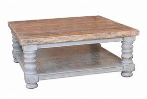 Otb Natural & Distressed Grey Square Coffee Table - Living