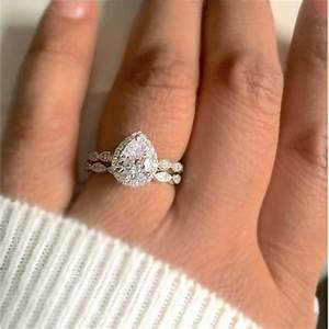 Pear cut cubic zirconia ring bridal set for Wedding band for teardrop engagement ring