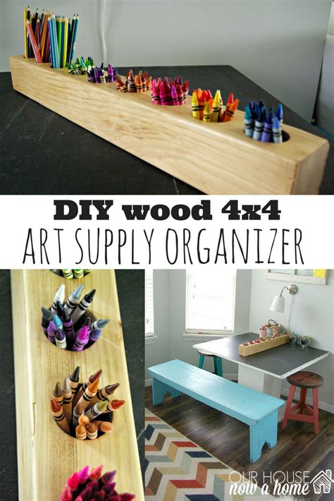 wood  rustic art supply organizer
