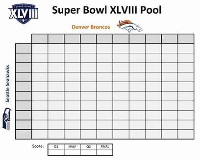 Squares Football Printable Template Pool Bowl Superbowl