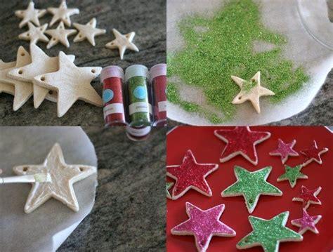 figuren aus salzteig trocken lassen und mit glitzern dekorieren weihnachtsbaumschmuck