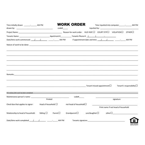 19885 work order form maintenance repair form work order form standard forms