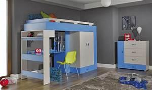 Lit En Hauteur Enfant : lit combin mezzanine bleu ado pas cher avec rangements ~ Preciouscoupons.com Idées de Décoration