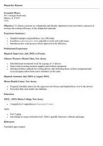 truck dispatcher resume format transportation dispatcher resume sle ebook database