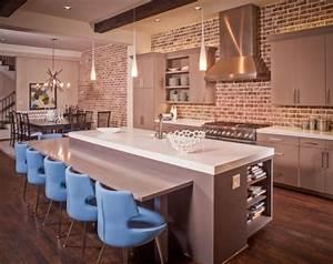 Les briques de parement et les briques apparentes for Kitchen colors with white cabinets with framed wall art set of 3