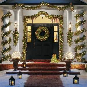 Image, Result, For, Front, Porch, Columns, Prelit, Outdoor, Garland
