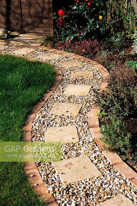 gap gardens gravel path  brick edging  square